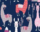 Lovely Llamas Navy