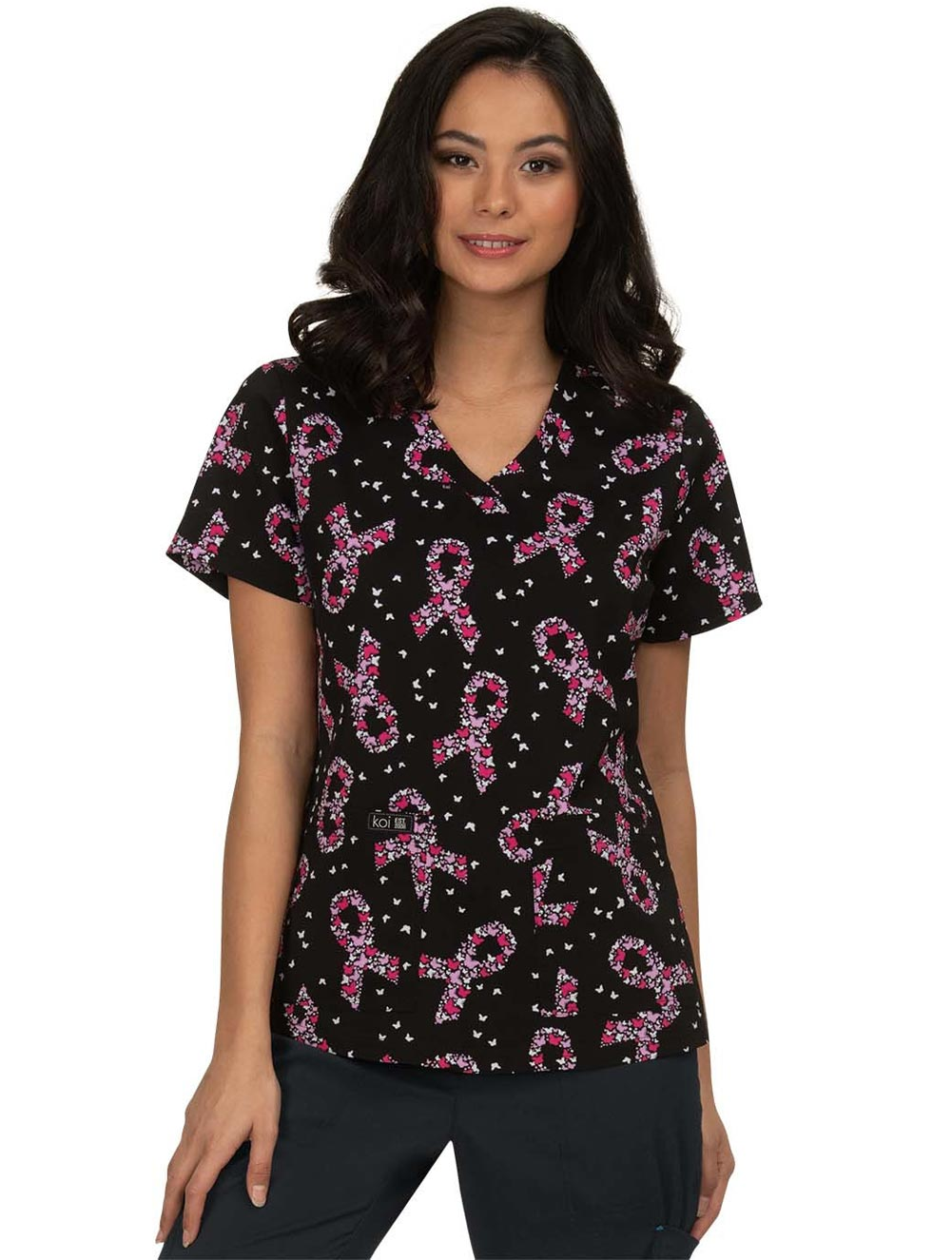 'Leslie' Breast Cancer Awareness Butterfly Print Scrub Top