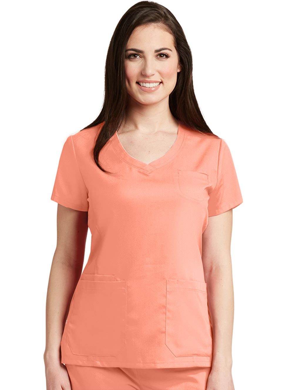 Shaped V-Neck Top w/ Chest Welt Pocket