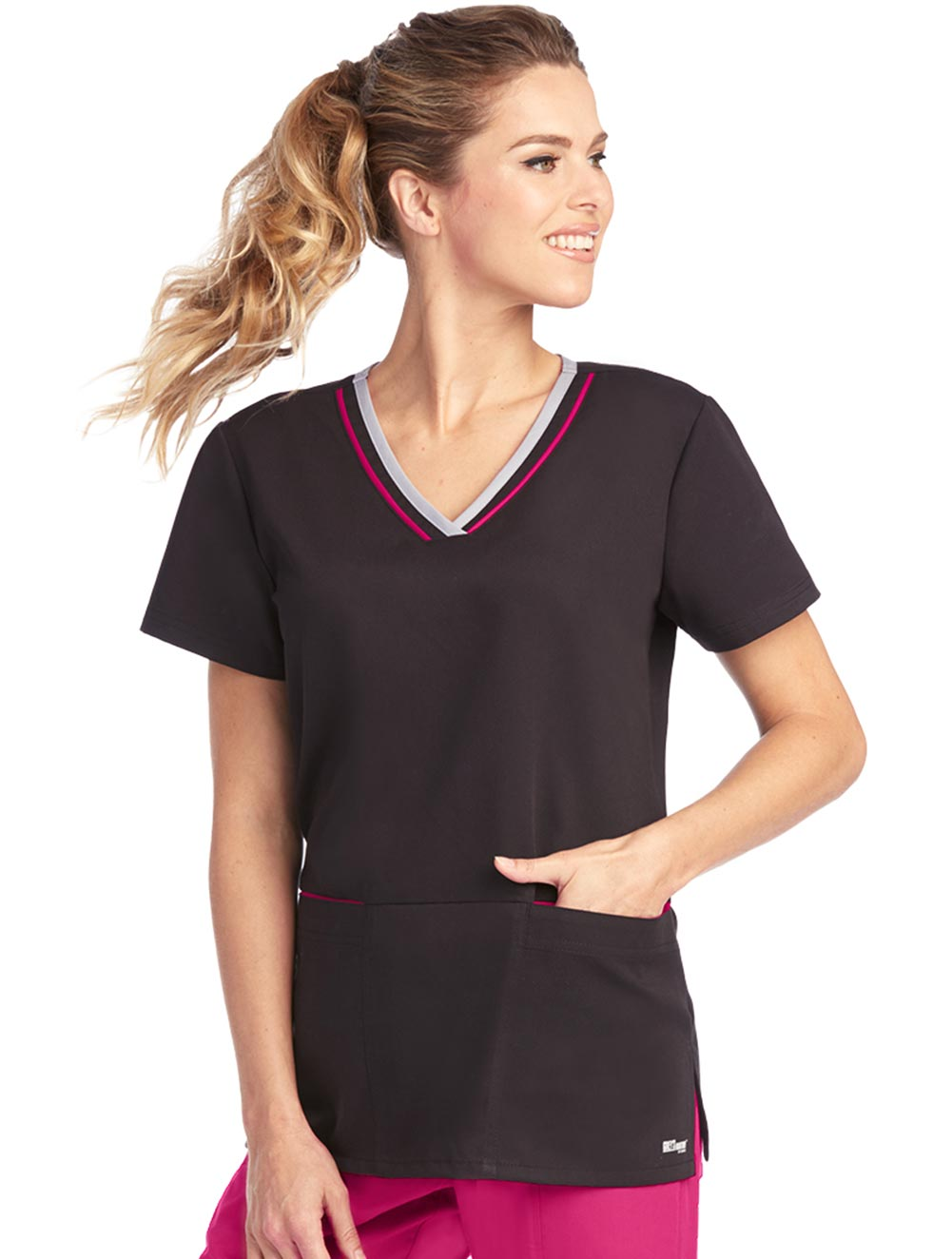 'Grey's Anatomy Active' V-Neck Top with Double Contrast Edge