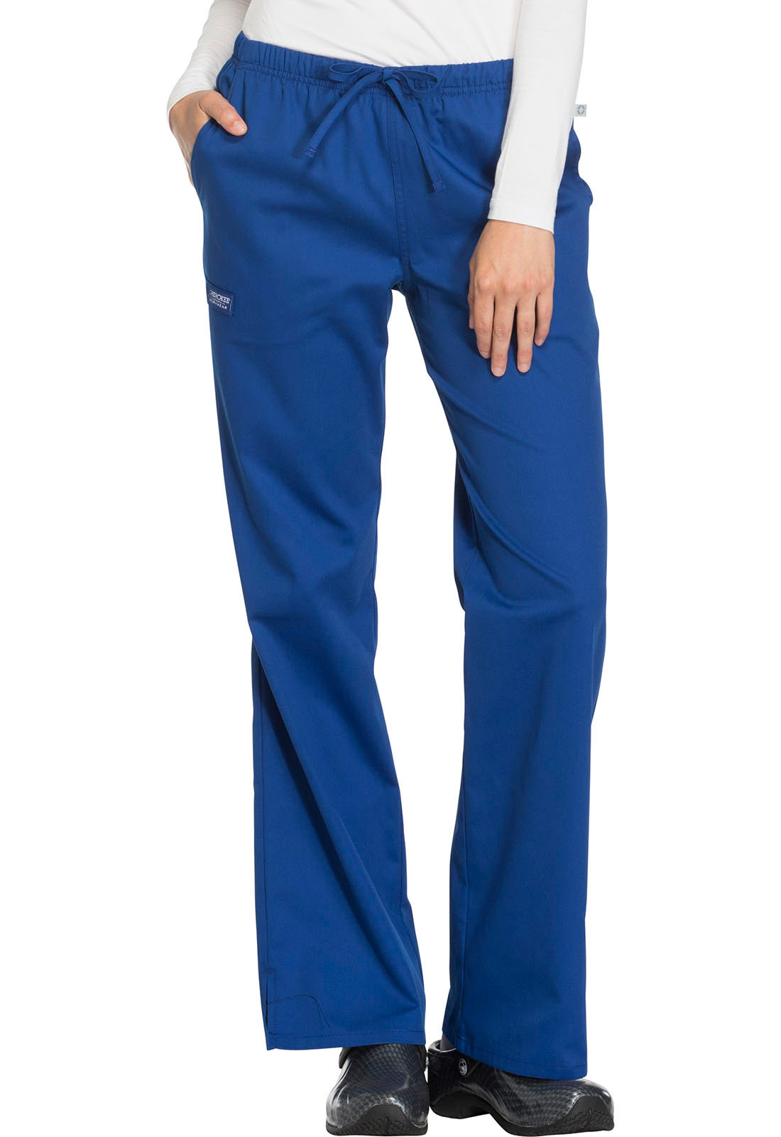 Mid-Rise Moderate Flare Drawstring Pant w/ Antimicrobial