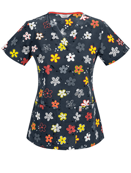 V-Neck Print Top w/ Antimicrobial