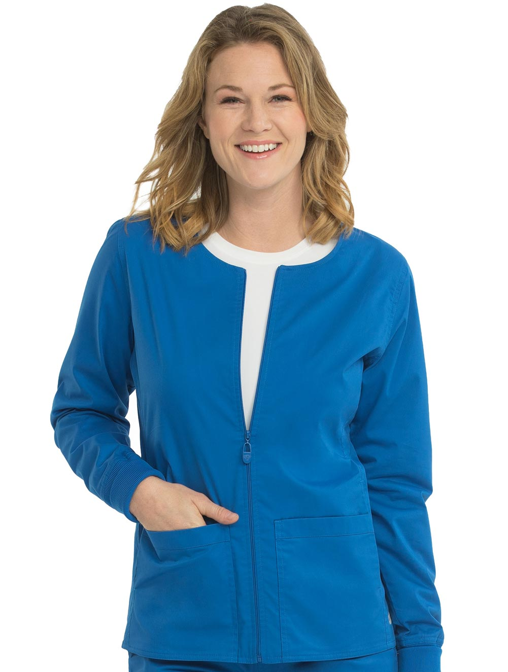 Women's 2-Pocket Zip-Front Warm Up Scrub Jacket