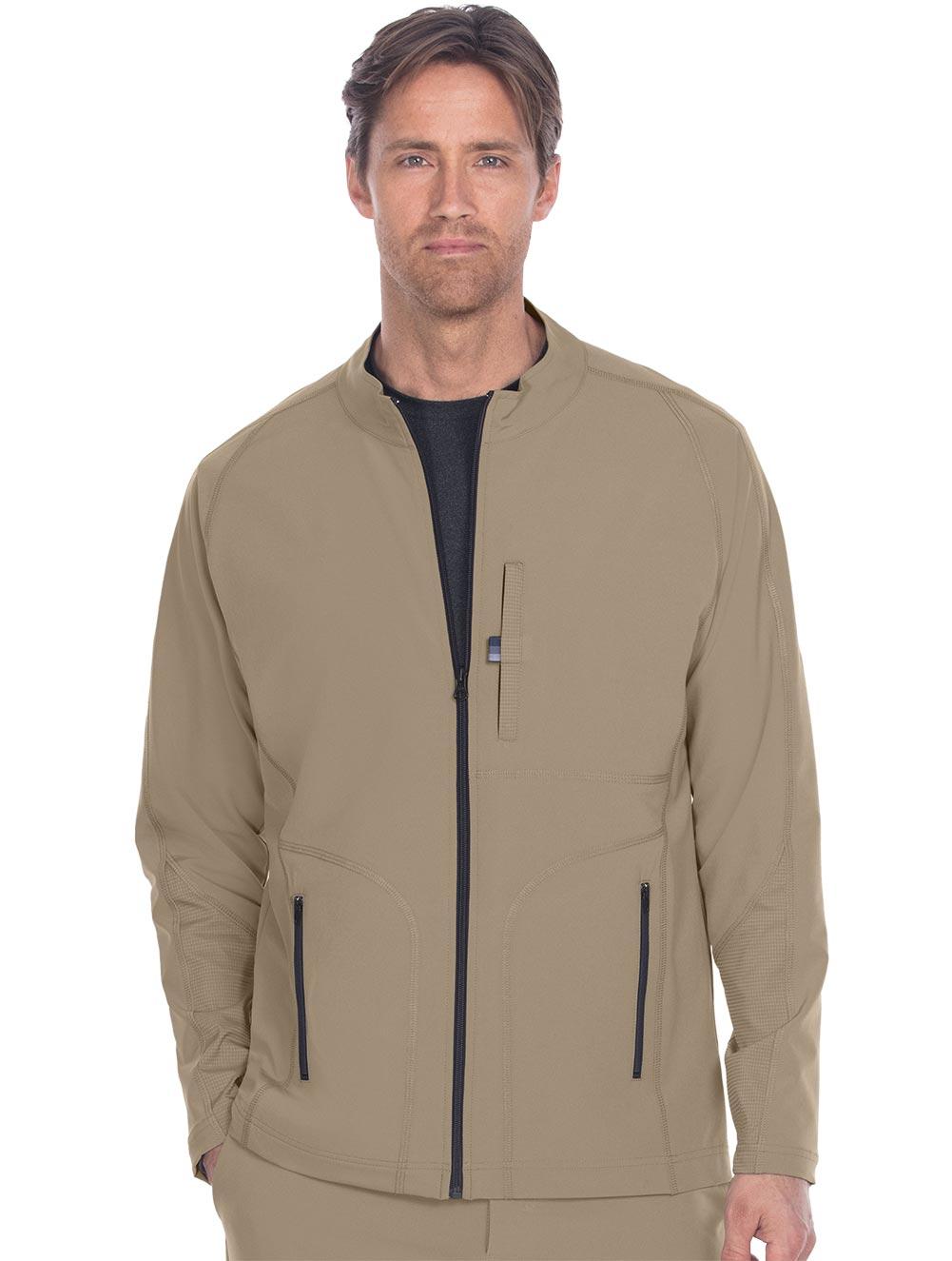 Mens Zip Front Raglan Scrub Jacket