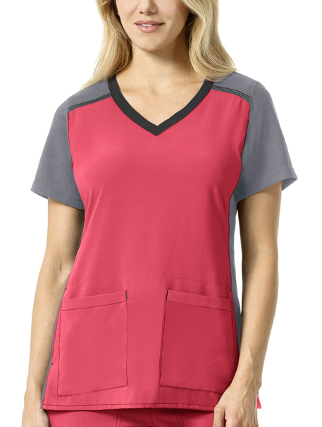 Cross-Flex Women's Multi-Color Knit Mix V-Neck Top