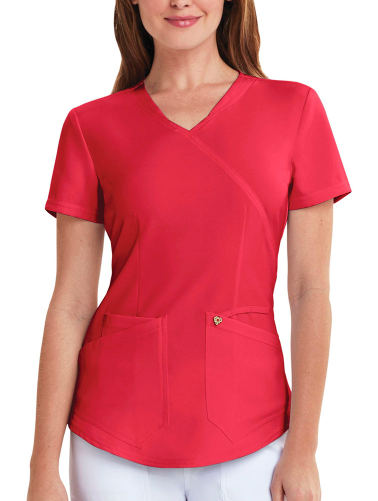 Mock Wrap Top w/ Antimicrobial