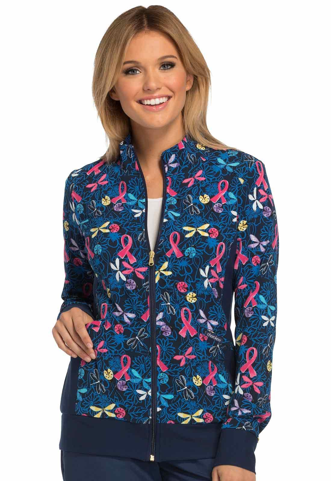 Zip Front Knit Panel Print Warm-Up Jacket