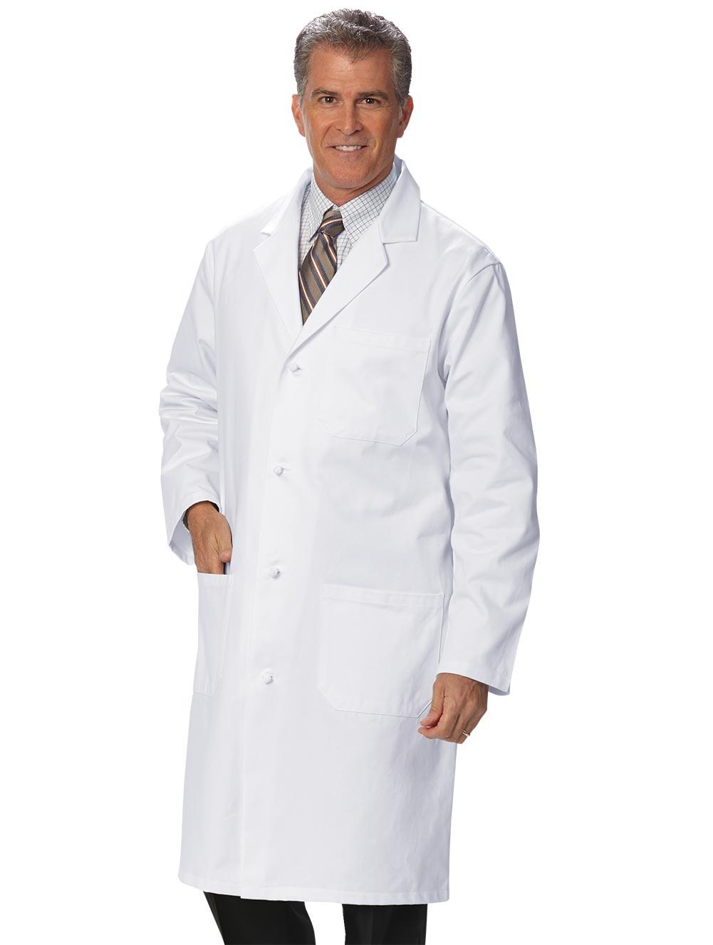 Men's Long-length Knot-Button Lab Coat