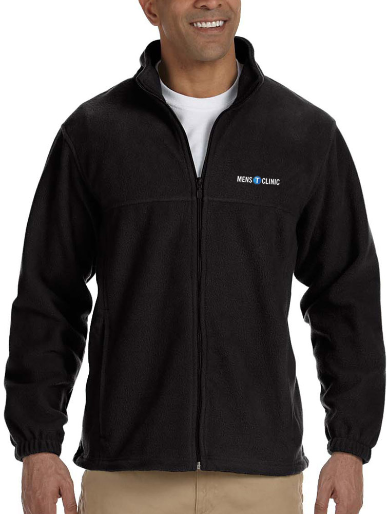 Men's Full-Zip Fleece Jacket w/ Logo Embroidery