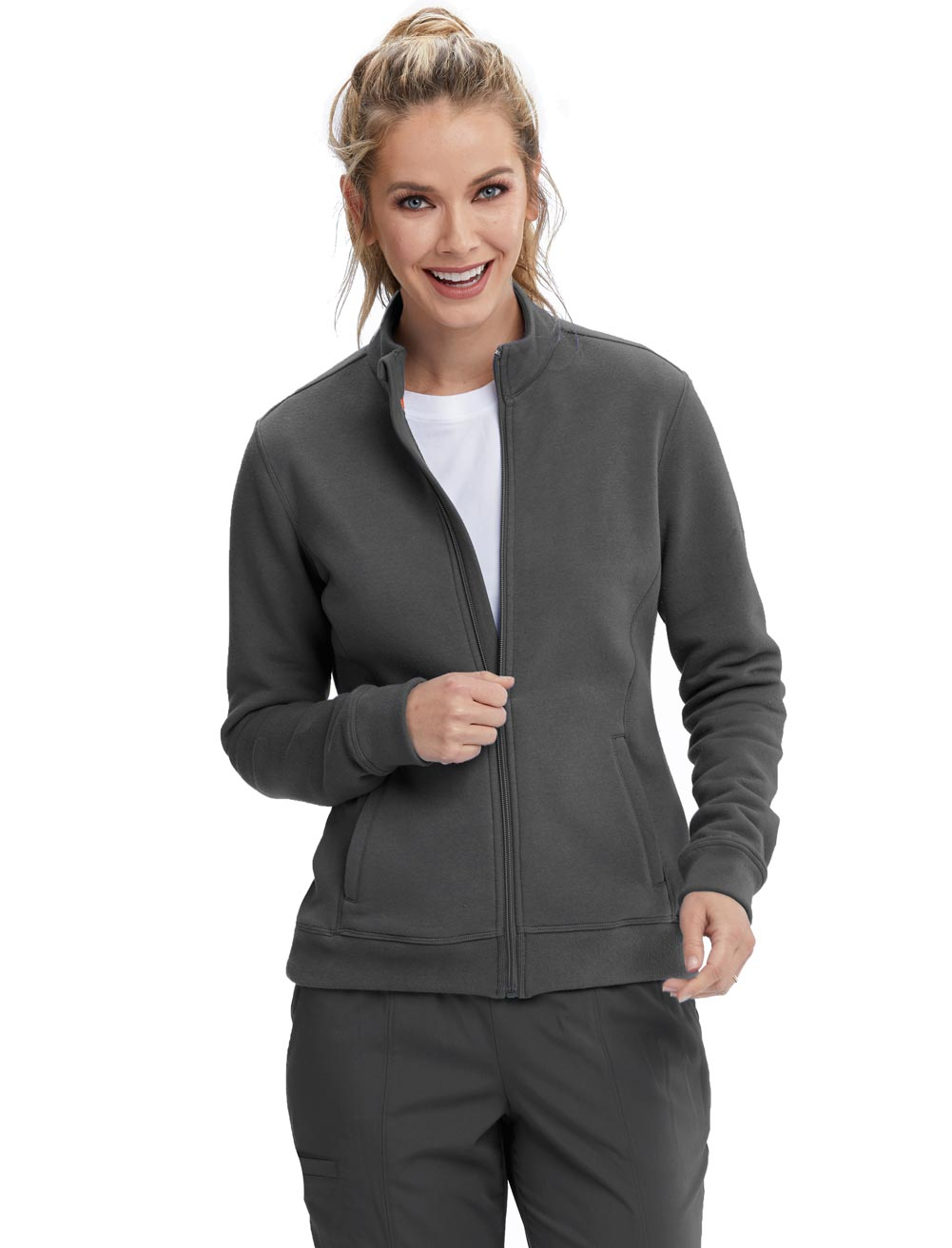 'Motion' Zip Front Mock Neck Scrub Jacket