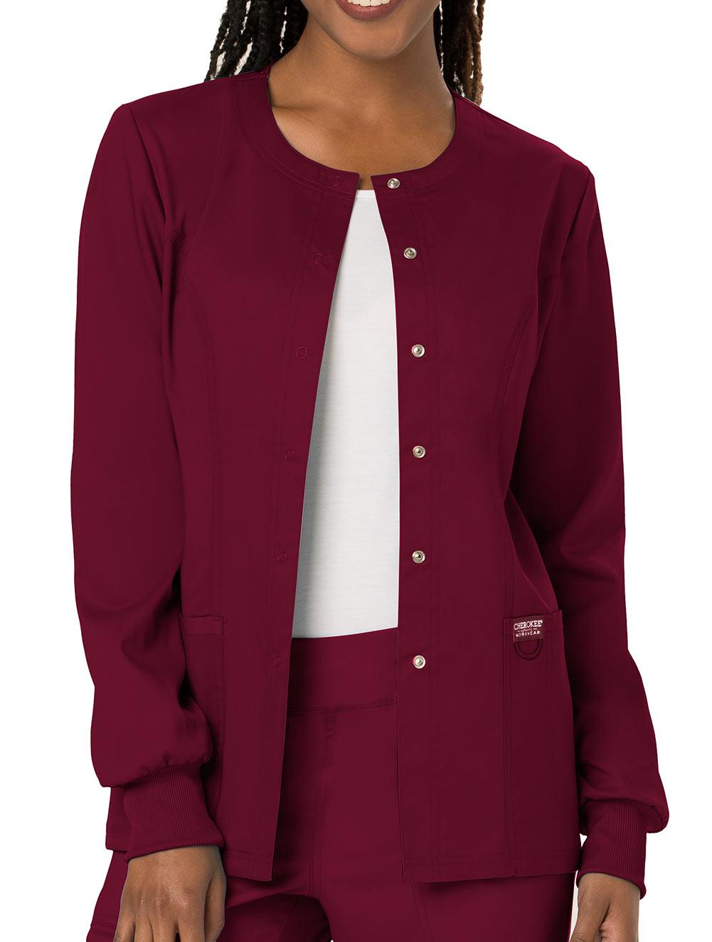 Wine Cherokee Workwear Revolution Snap Front Warm Up Jacket WW310 WIN