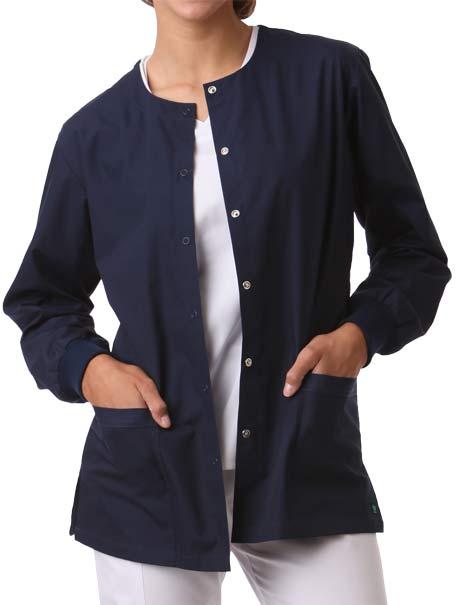 Unisex Round Neck Snap Front Jacket