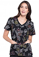 Flexibles V-Neck Knit Panel Print Top