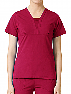 'EcoFlex' Deep Shaped V-Neck With Pintuck Decoration Top