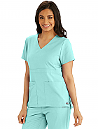 'Spandex Stretch' Women's Three Pocket Empire Back V-Neck Scrub Top