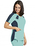 'Spandex Stretch' 3 Pocket V-Neck Contrast Raglan Scrub Top