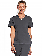 'Motion' 3 Pocket Notched Lapover V-Neck Scrub Top